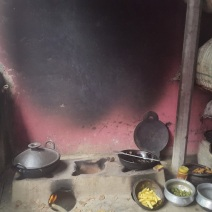 A traditional outdoor kitchen in the outskirts of Dhaka. Notice the wall blackened by years of soot. Research work for Global Alliance for Clean Cookstoves (June 2016)